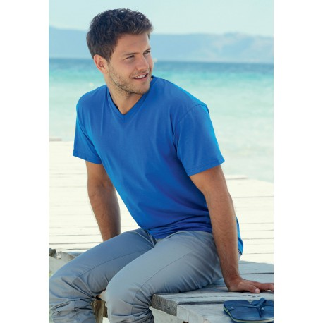 T-SHIRT MANCHES COURTES COL VVALUEWEIGHT V NECK  (61-066-0)